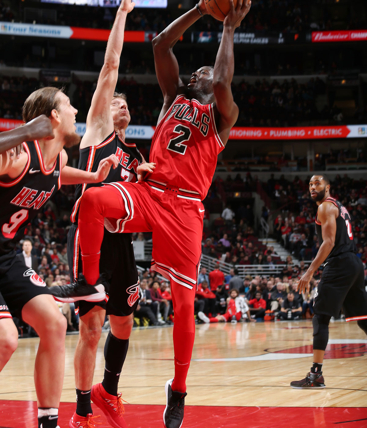 Jerian Grant #2 of the Chicago Bulls handles the ball against the Miami Heat on November 26, 2017 at the United Center in Chicago, Illinois.