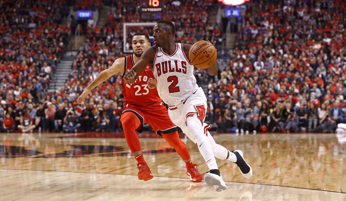 Jerian Grant #2 of the Chicago Bulls handles the ball during the game against the Toronto Raptors on October 19, 2017 at the Air Canada Centre in Toronto, Ontario, Canada.