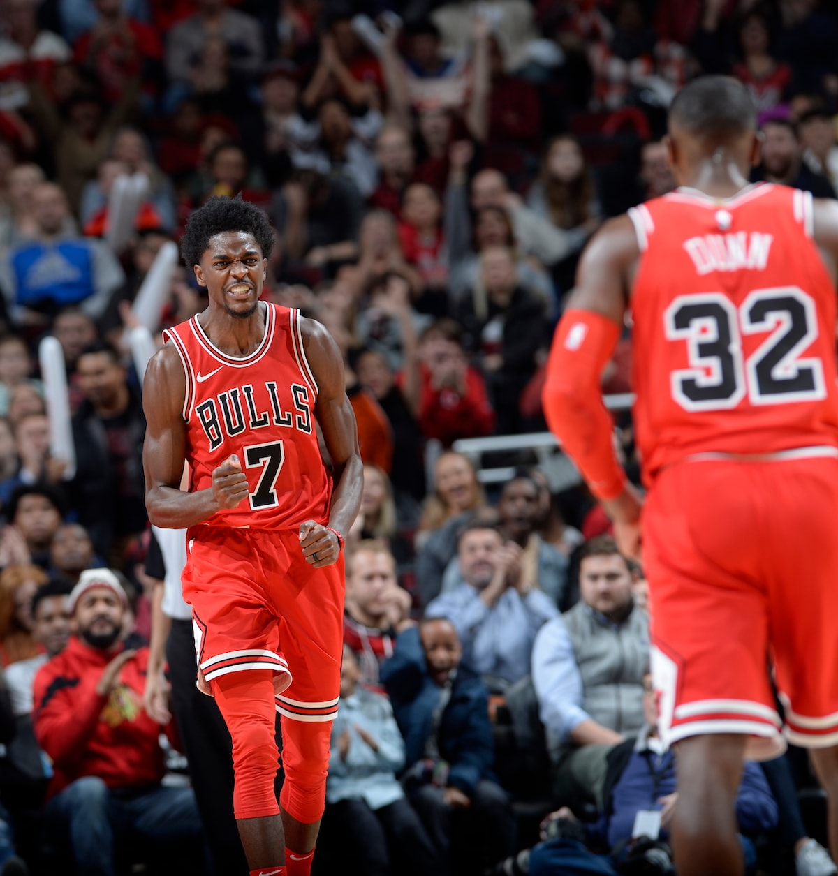 Justin Holiday #7 of the Chicago Bulls cheers during the game while looking towards Kris Dunn #32 of the Chicago Bulls during the game against the Charlotte Hornets on November 17 at the United Center in Chicago, Illinois.