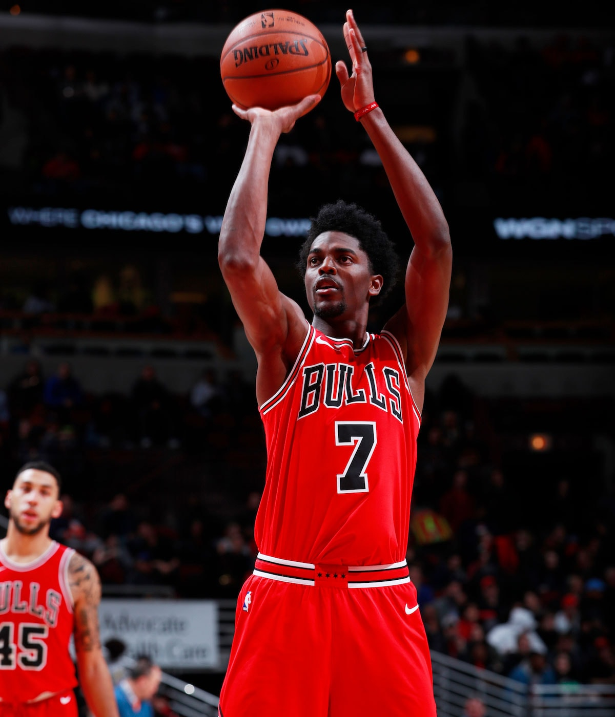 Justin Holiday #7 of the Chicago Bulls shoots a free throw against the Cleveland Cavaliers on December 4, 2017 at the United Center in Chicago, Illinois.