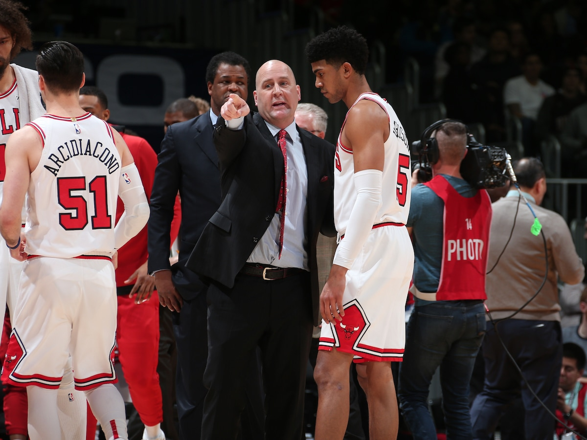 Coach Boylen instructs Hutchison during his rookie season