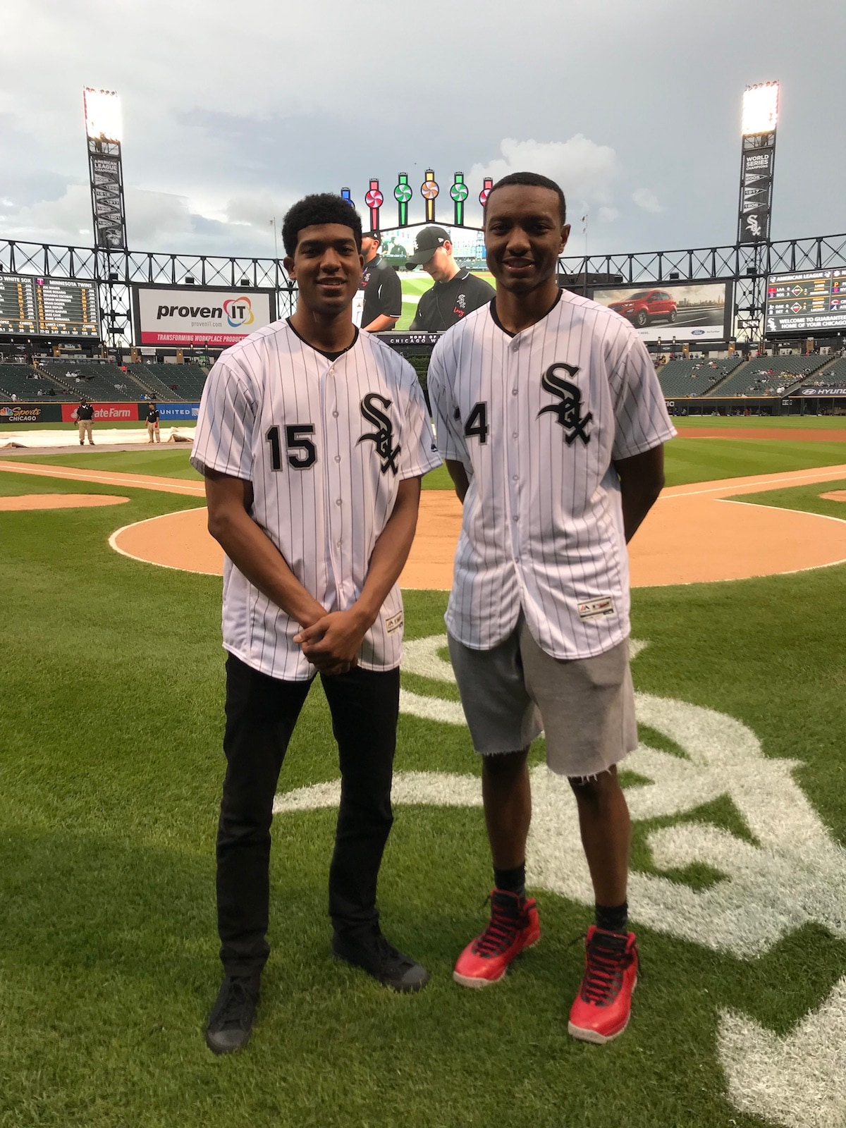 dbb0aa483935 Wendell Carter Jr. and Chandler Hutchison Throw White Sox Ceremonial First  Pitches