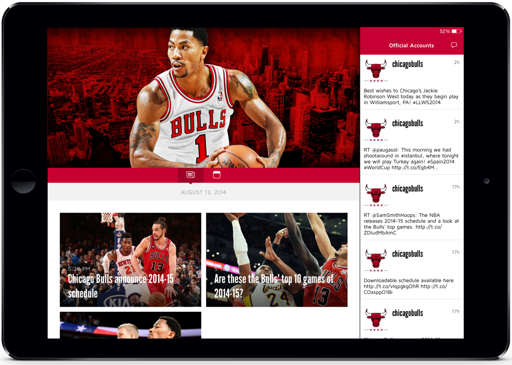 screenshot of Chicago Bulls mobile app, tablet