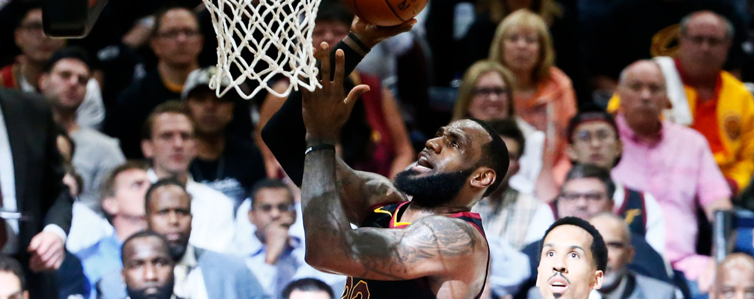 LeBron James #23 of the Cleveland Cavaliers shoots the ball against the Golden State Warriors in Game Four of the 2018 NBA Finals won 108-85 by the Golden State Warriors over the Cleveland Cavaliers at the Quicken Loans Arena on June 6, 2018 in Cleveland,