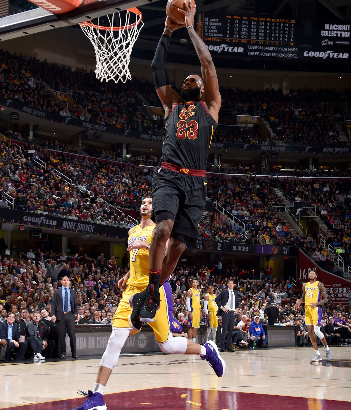 LeBron James #23 of the Cleveland Cavaliers dunks the ball against the Los Angeles Lakers on December 14, 2017 at Quicken Loans Arena in Cleveland, Ohio.