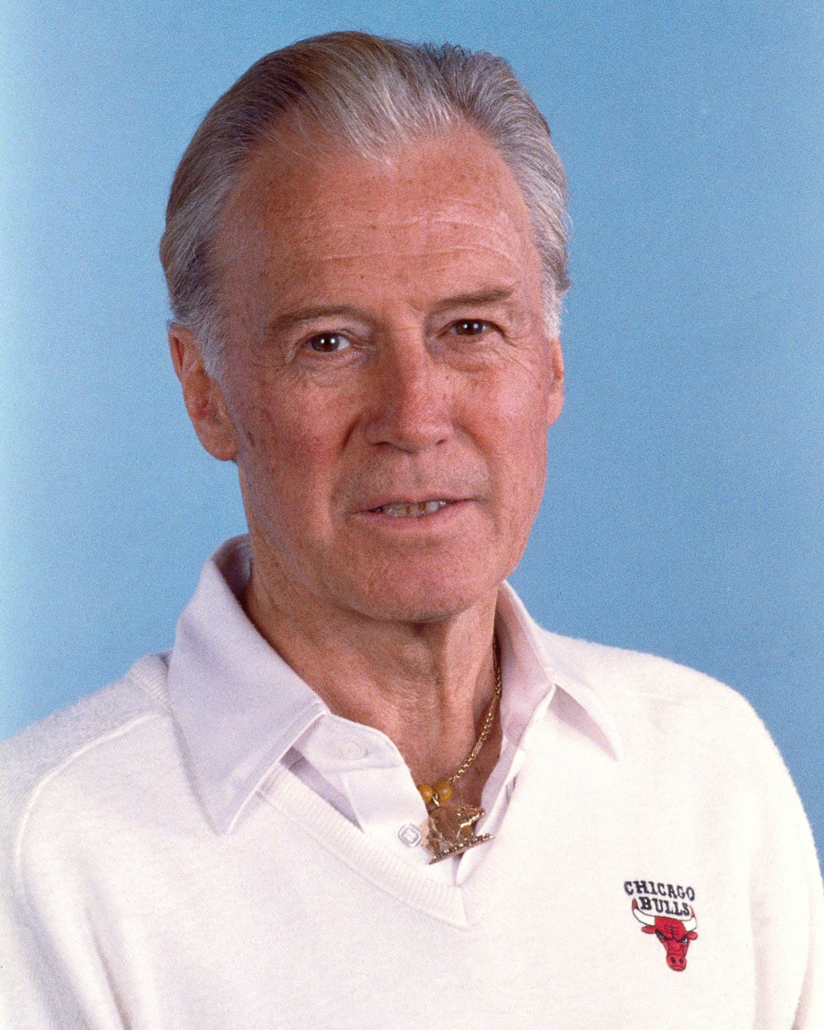 Johnny Bach, assistant coach of the Chicago Bulls poses for a portrait during the 1991 season in Chicago, Illinois.