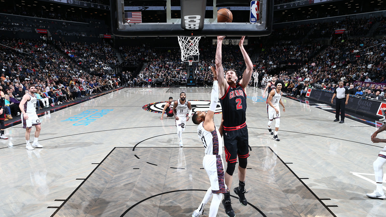 Kornet goes up to shoot against the Nets
