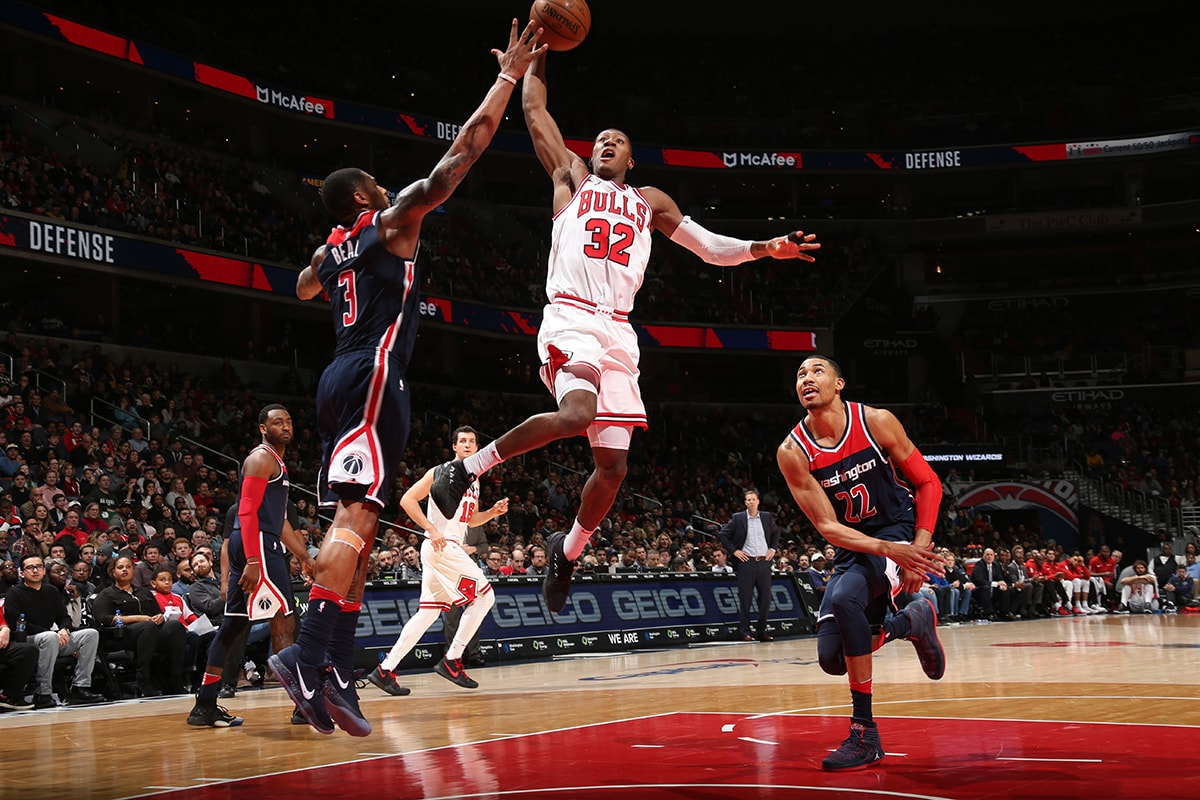 Kris Dunn #32 of the Chicago Bulls handles the ball against the Washington Wizards on December 31, 2017 at Capital One Arena in Washington, DC.