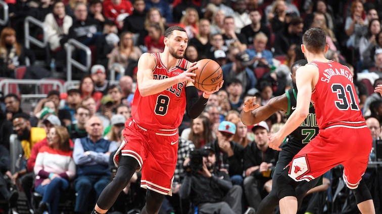 Zach LaVine holds the ball