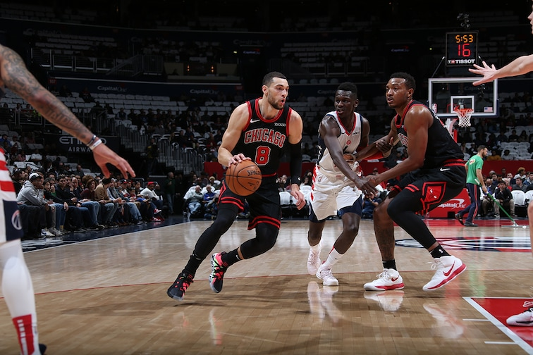 Zach LaVine dribbling vs. the Wizards
