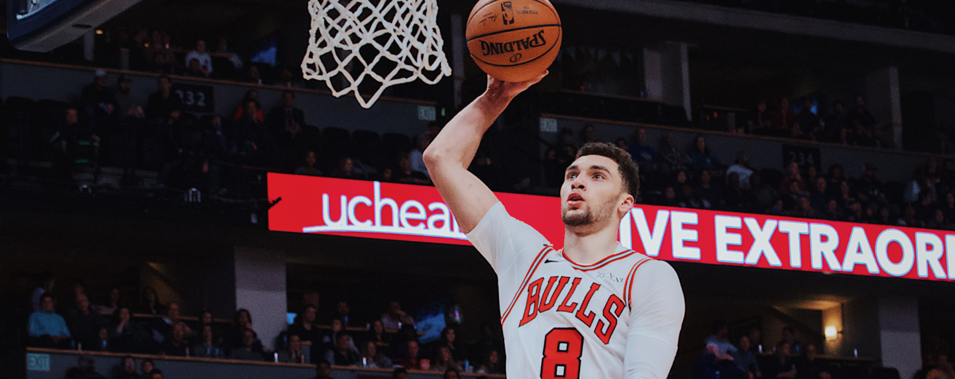 Zach LaVine of the Chicago Bulls goes for the dunk against the Denver Nuggets.