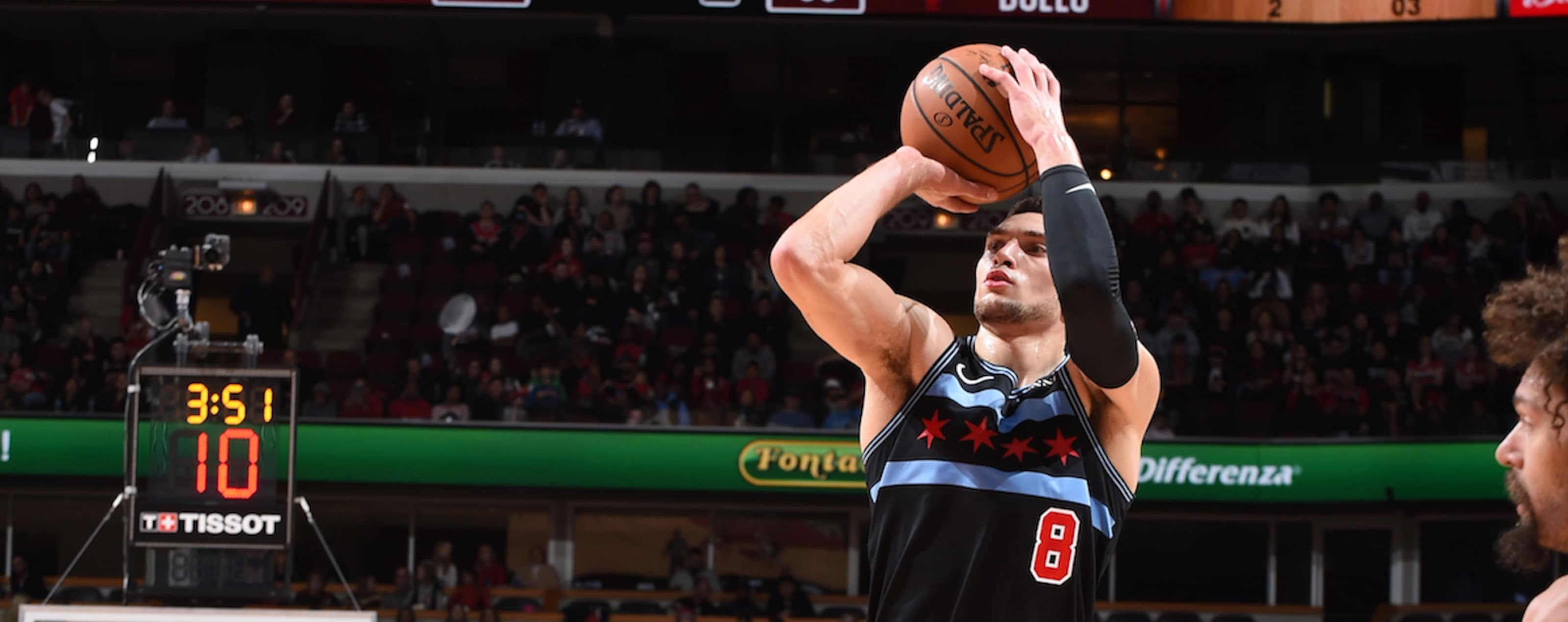 Zach LaVine shoots the ball against the Miami Heat.