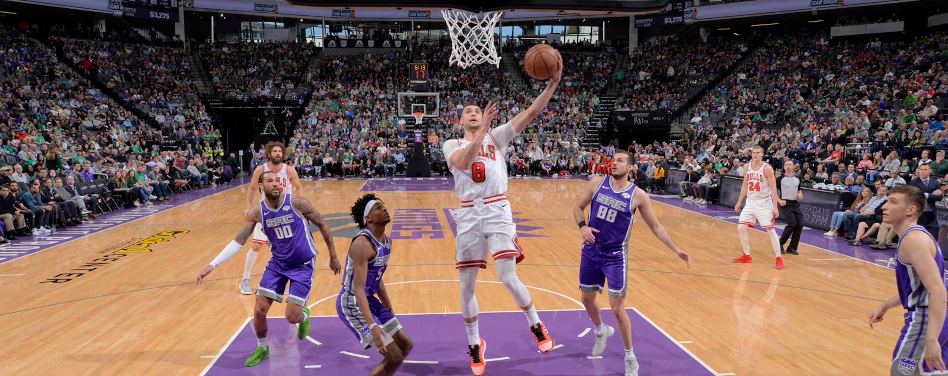 Zach LaVine #8 of the Chicago Bulls shoots the ball against the Sacramento Kings on March 17, 2019 at Golden 1 Center in Sacramento, California.