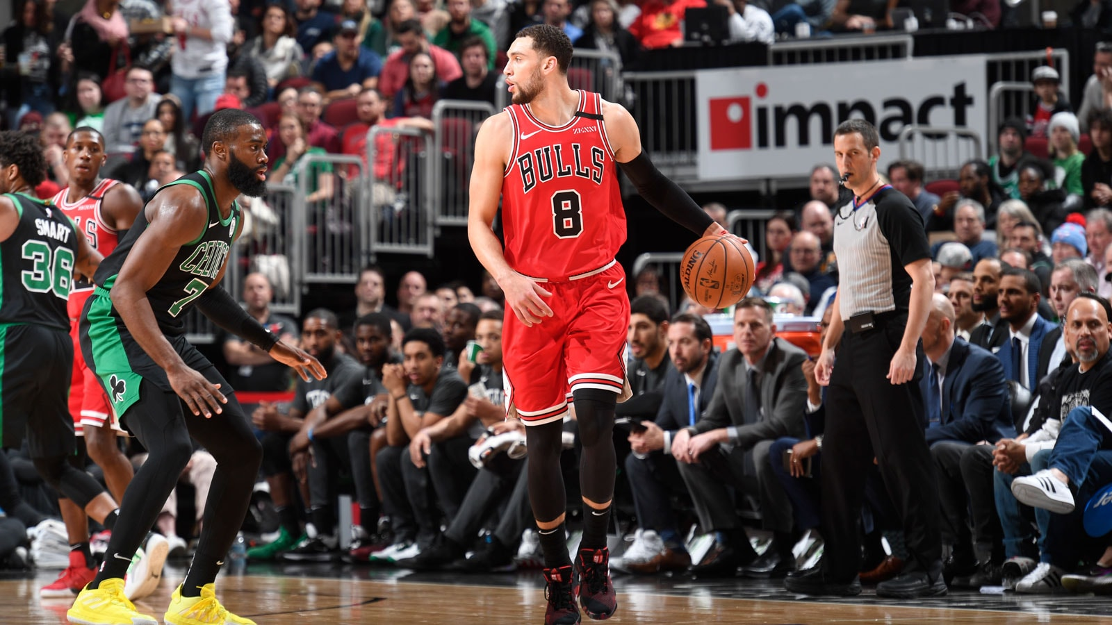 Zach LaVine looks to the side against the Celtics