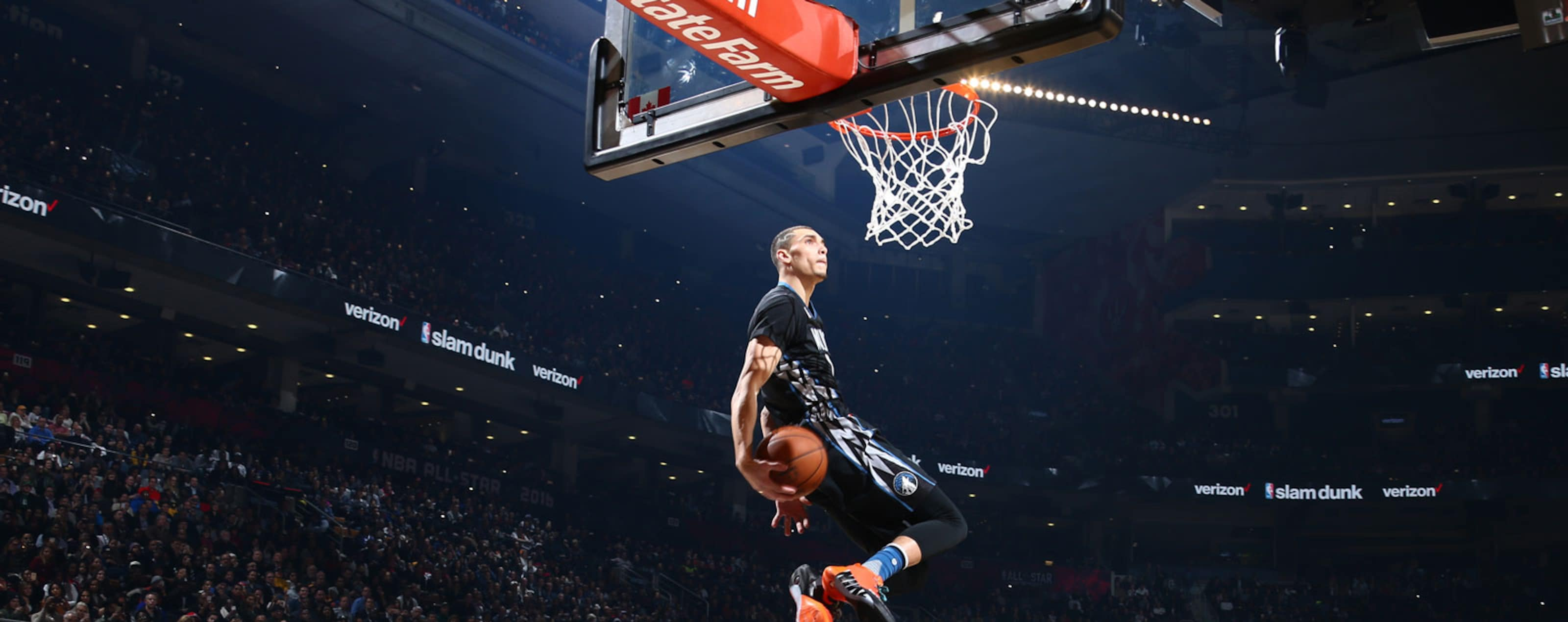 Zach LaVine #8 of the Minnesota Timberwolves dunks the ball during the Verizon Slam Dunk Contest during State Farm All-Star Saturday Night as part of the 2016 NBA All-Star Weekend on February 13, 2016 at Air Canada Centre in Toronto, Ontario, Canada.
