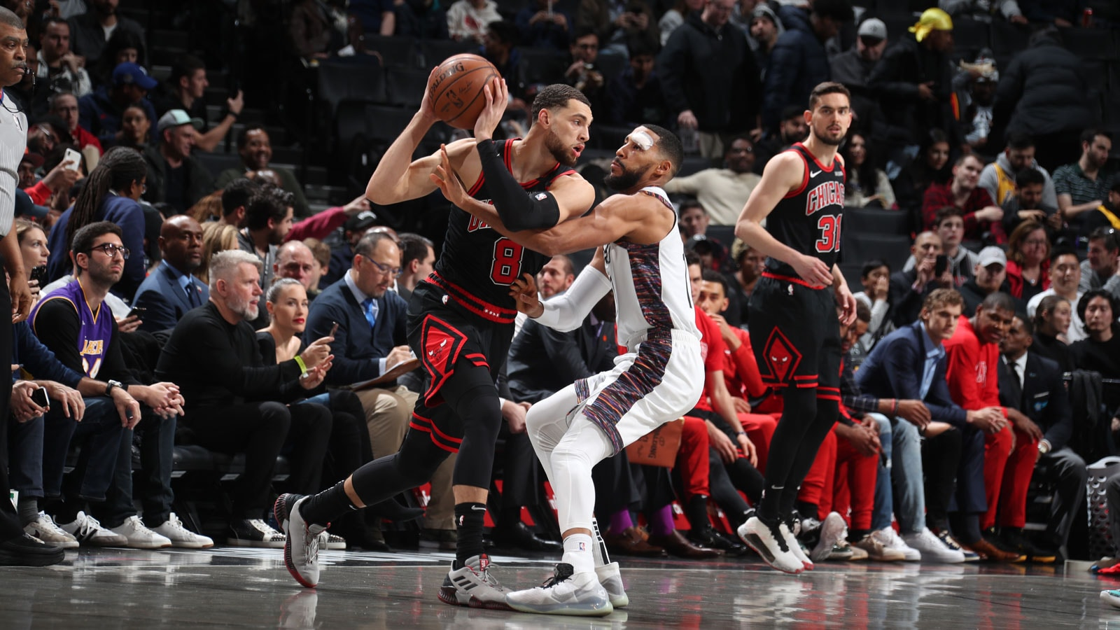 Zach LaVine holds the ball against the Brooklyn Nets