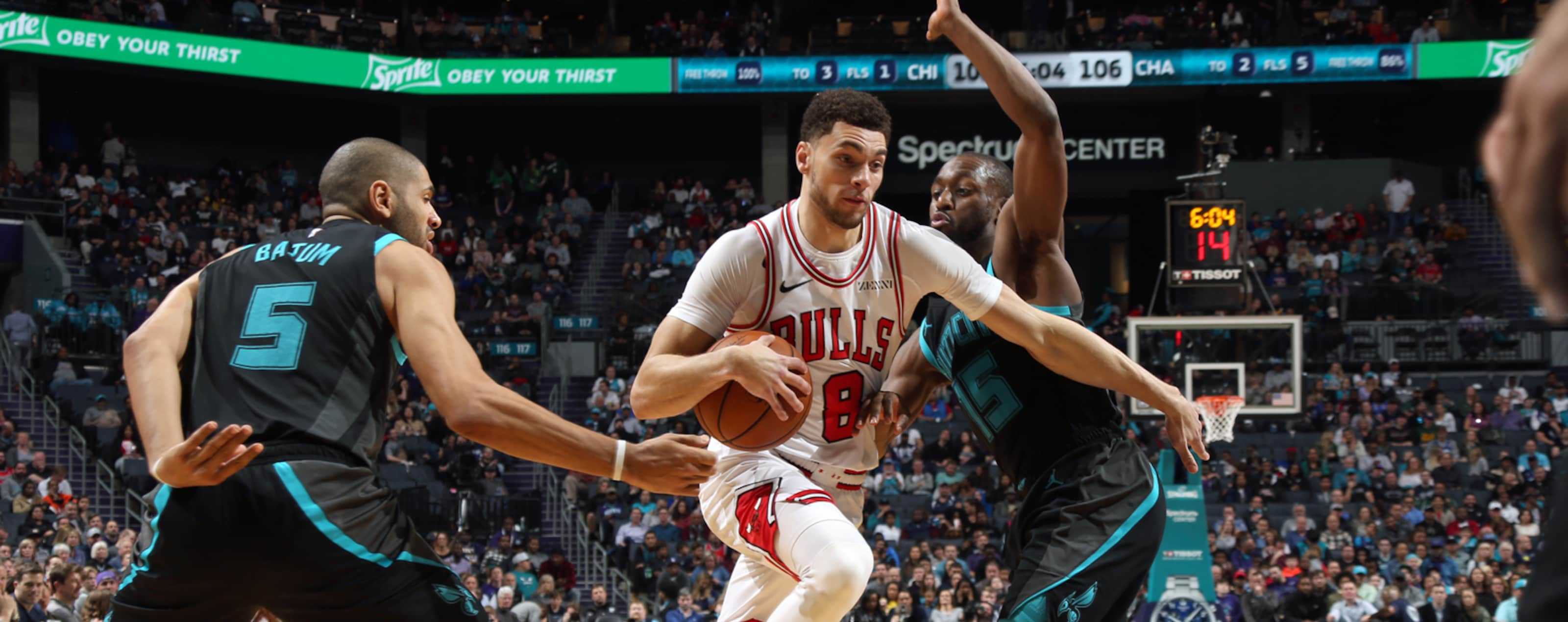 Zach LaVine #8 of the Chicago Bulls drives to the basket against the Charlotte Hornets on February 2, 2019 at the Spectrum Center in Charlotte, North Carolina.