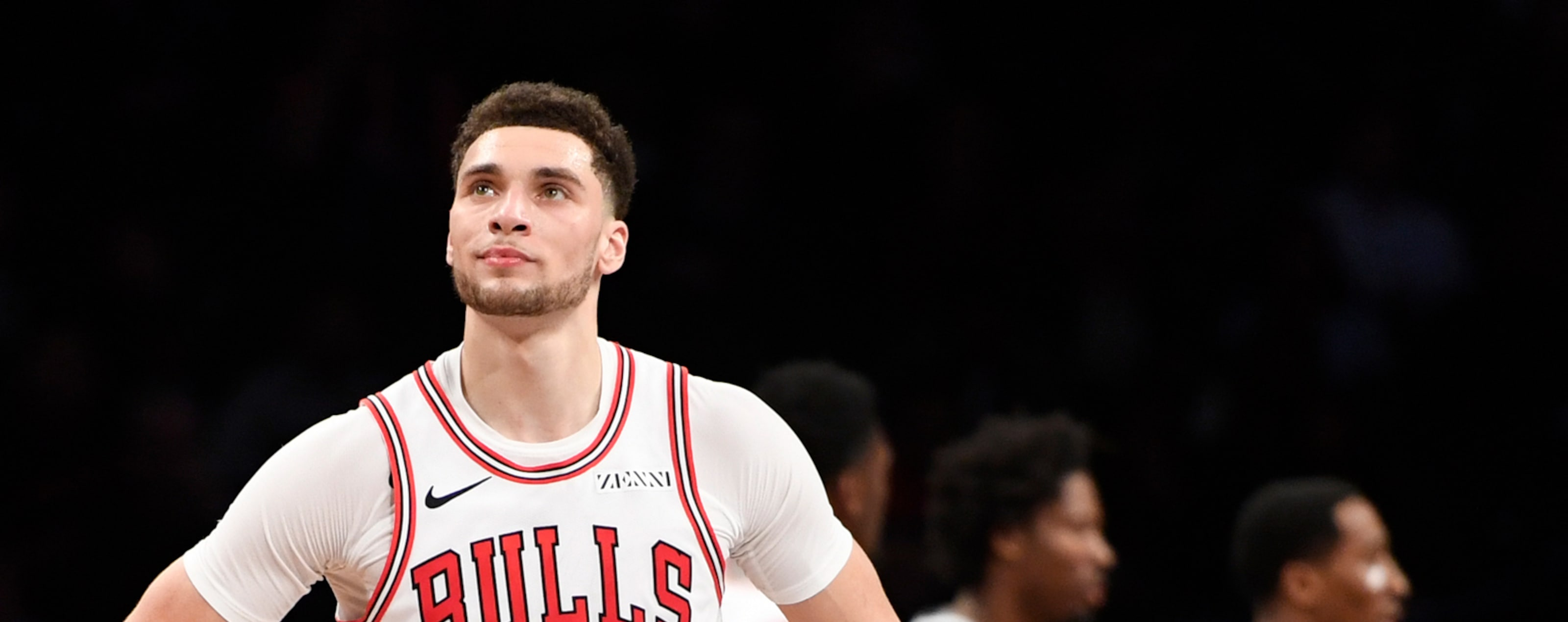 Zach LaVine #8 of the Chicago Bulls reacts after a call during the third quarter of the game against the Brooklyn Nets at Barclays Center on January 29, 2019 in the Brooklyn borough of New York City.