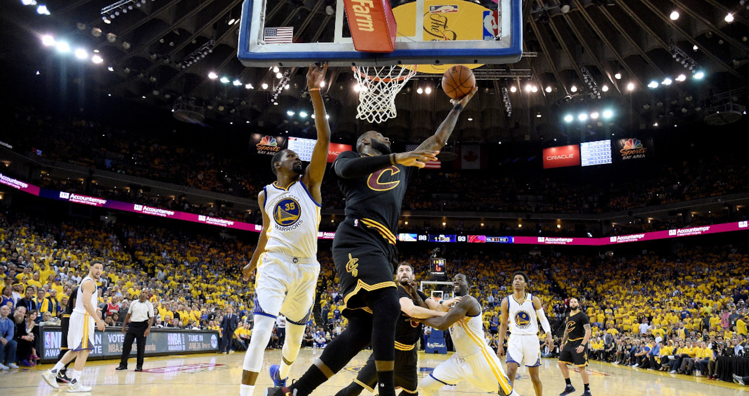 LeBron James #23 of the Cleveland Cavaliers goes up for a shot against Kevin Durant #35 of the Golden State Warriors in Game 5 of the 2017 NBA Finals at ORACLE Arena on June 12, 2017 in Oakland, California.