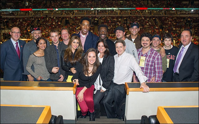 Cast of Chicago Fire takes in a Bulls game
