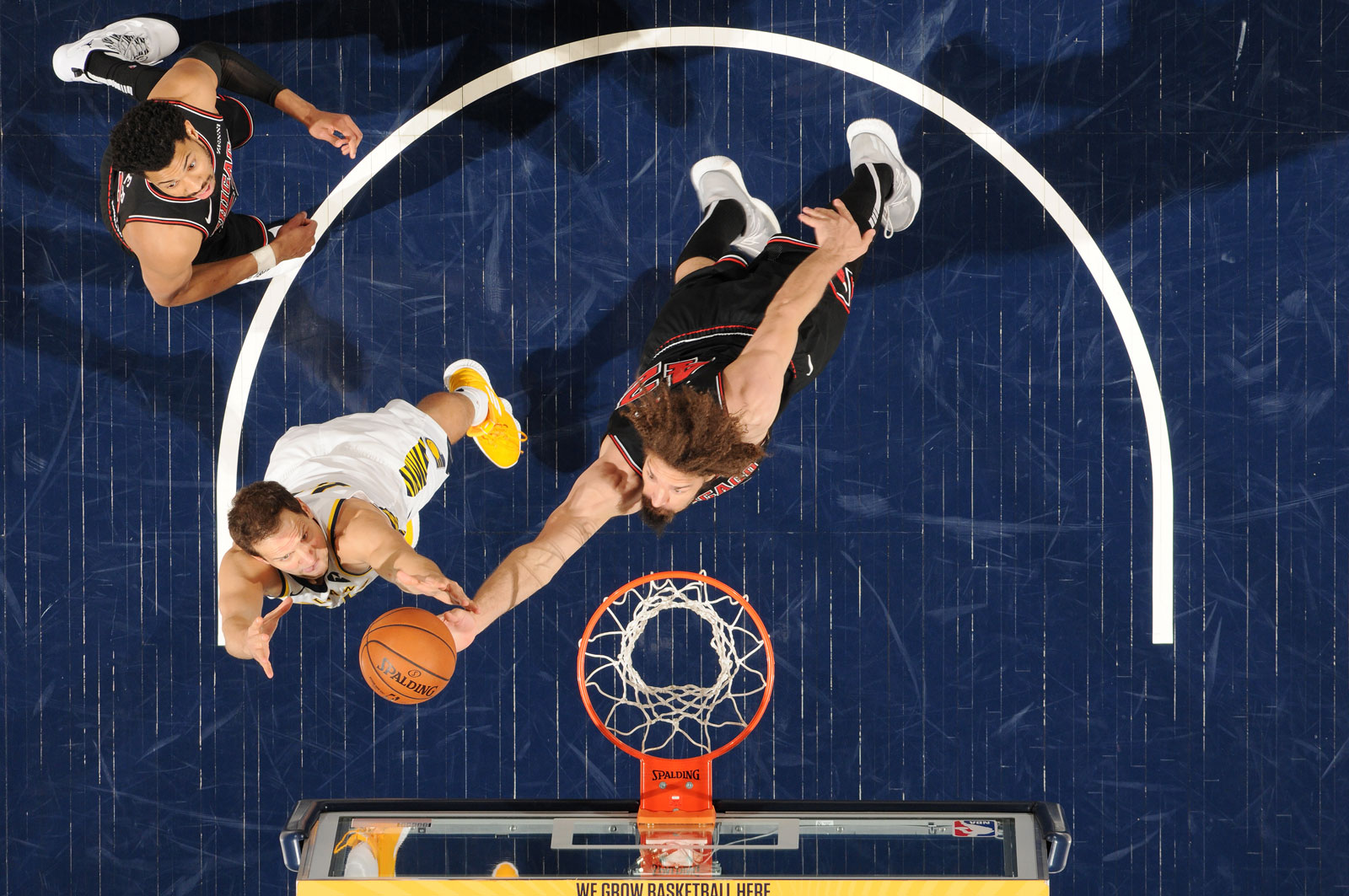 Robin Lopez #42 of the Chicago Bulls and Bojan Bogdanovic #44 of the Indiana Pacers go up for a rebound on March 5, 2019 at Bankers Life Fieldhouse in Indianapolis, Indiana.