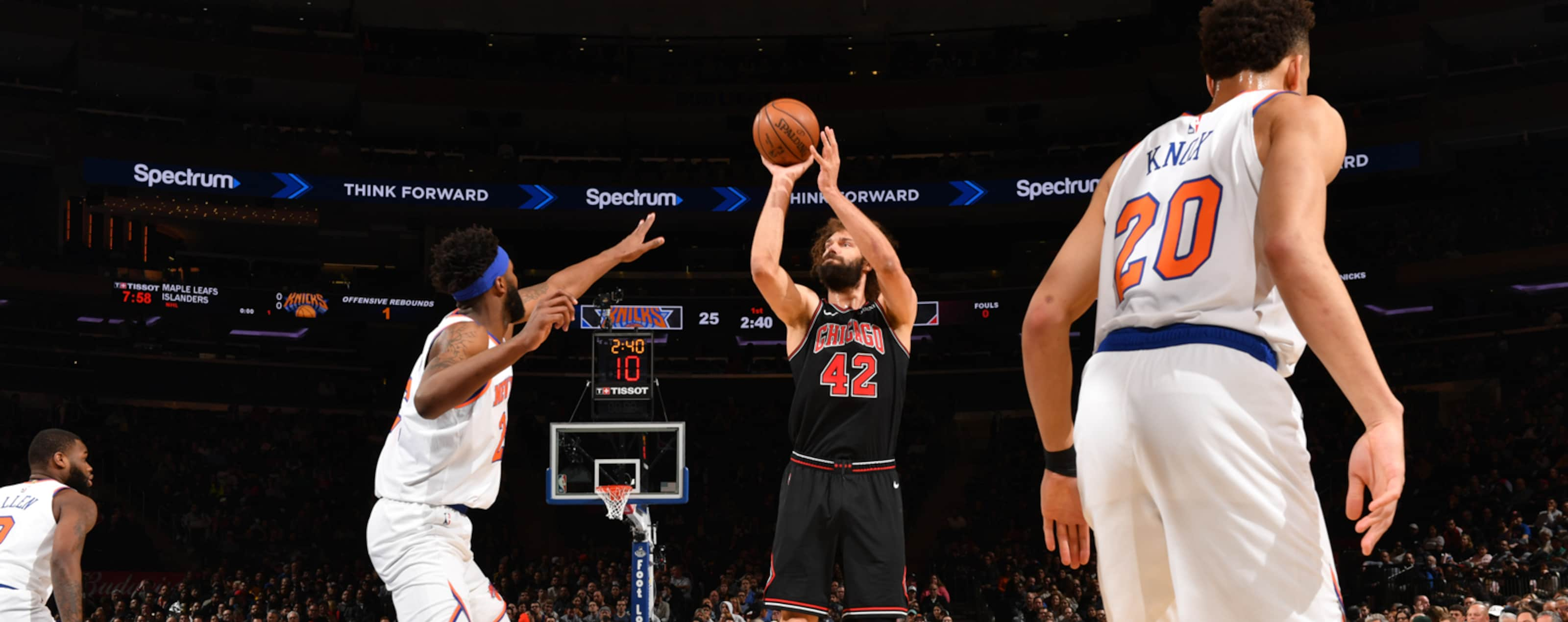 Robin Lopez shoots the ball against the New York Knicks.