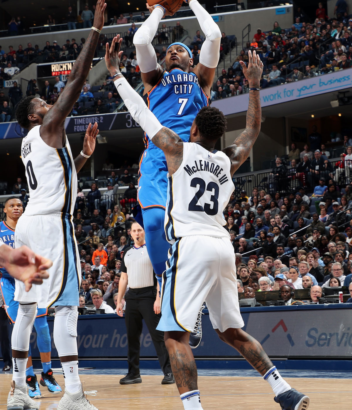Carmelo Anthony #7 of the Oklahoma City Thunder shoots the ball against the Memphis Grizzlies on December 9, 2017 at FedExForum in Memphis, Tennessee.