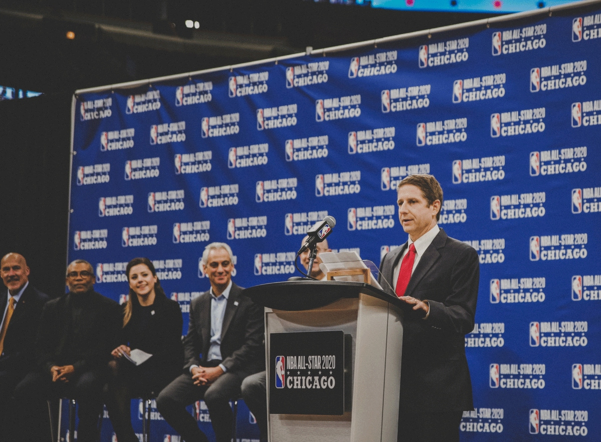 November 10, 2017. Michael Reinsdorf addressing a press conference about the NBA All Star Game coming to Chicago, at the United Center, Chicago, IL.