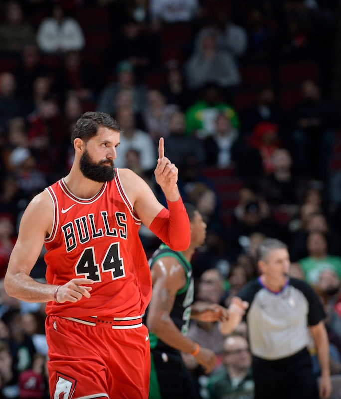 Nikola Mirotic #44 of the Chicago Bulls celebrates after a shot at the United Center on December 11, 2017 in Chicago, Illinois.