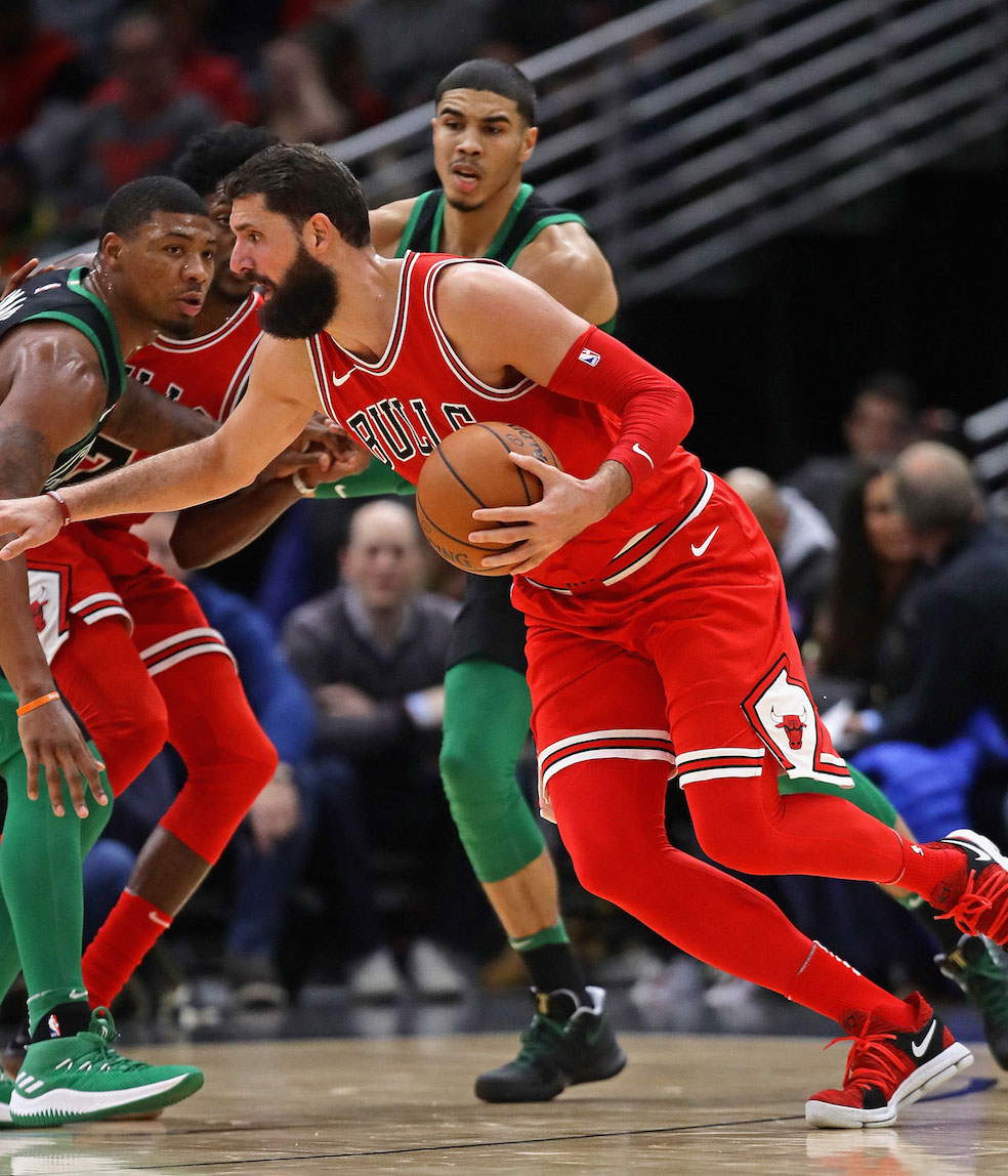 Nikola Mirotic #44 of the Chicago Bulls moves against the Boston Celtics at the United Center on December 11, 2017 in Chicago, Illinois.