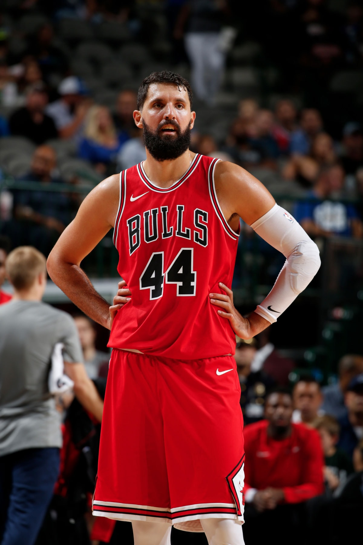 Nikola Mirotic #44 of the Chicago Bulls looks on during the game against the Dallas Mavericks on October 4, 2017 at the American Airlines Center in Dallas, Texas.