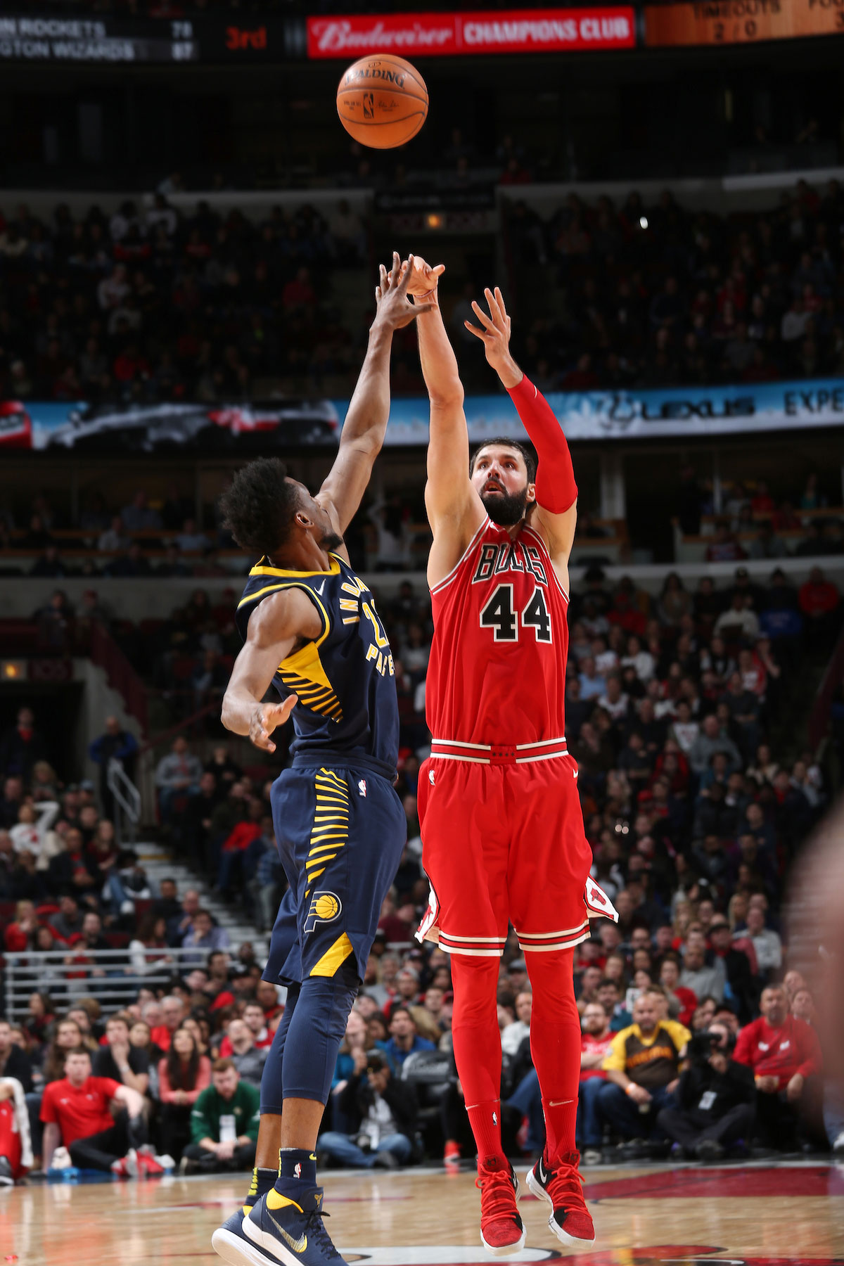 Nikola Mirotic #44 of the Chicago Bulls shoots the ball against the Indiana Pacers.