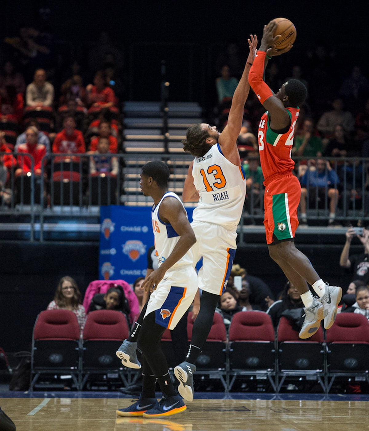 Joakim Noah #13 of the Westchester Knicks plays defense during an NBA G-League game against the Maine Red Claws on November 29, 2017 at Westcester County Center in White Plains, New York.