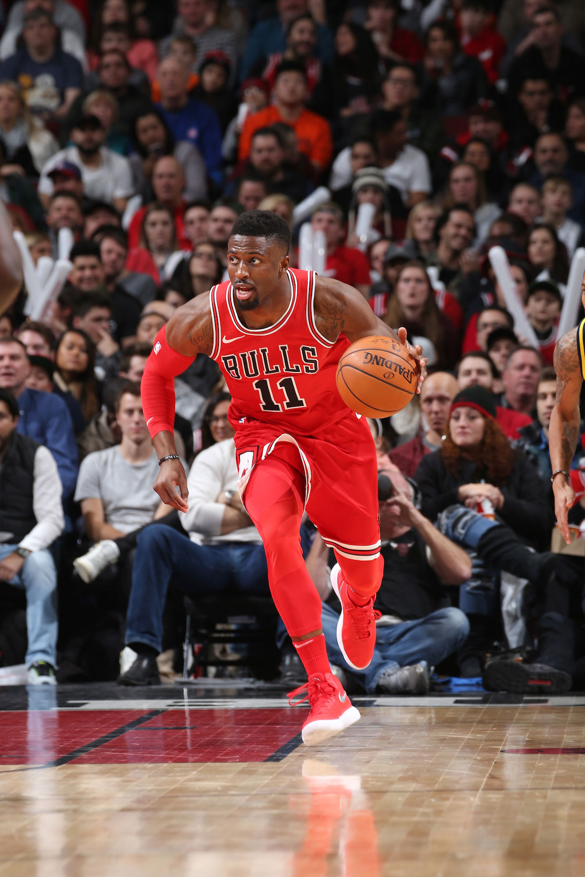 David Nwaba #11 of the Chicago Bulls handles the ball against the Indiana Pacers