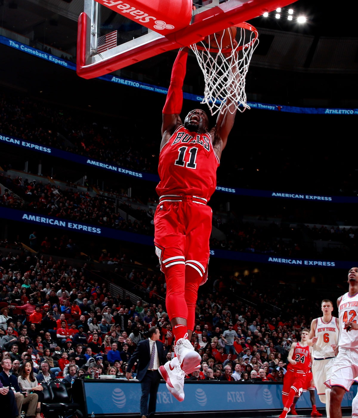 David Nwaba #11 of the Chicago Bulls dunks the ball against the New York Knicks on December 9, 2017 at the United Center in Chicago, Illinois.