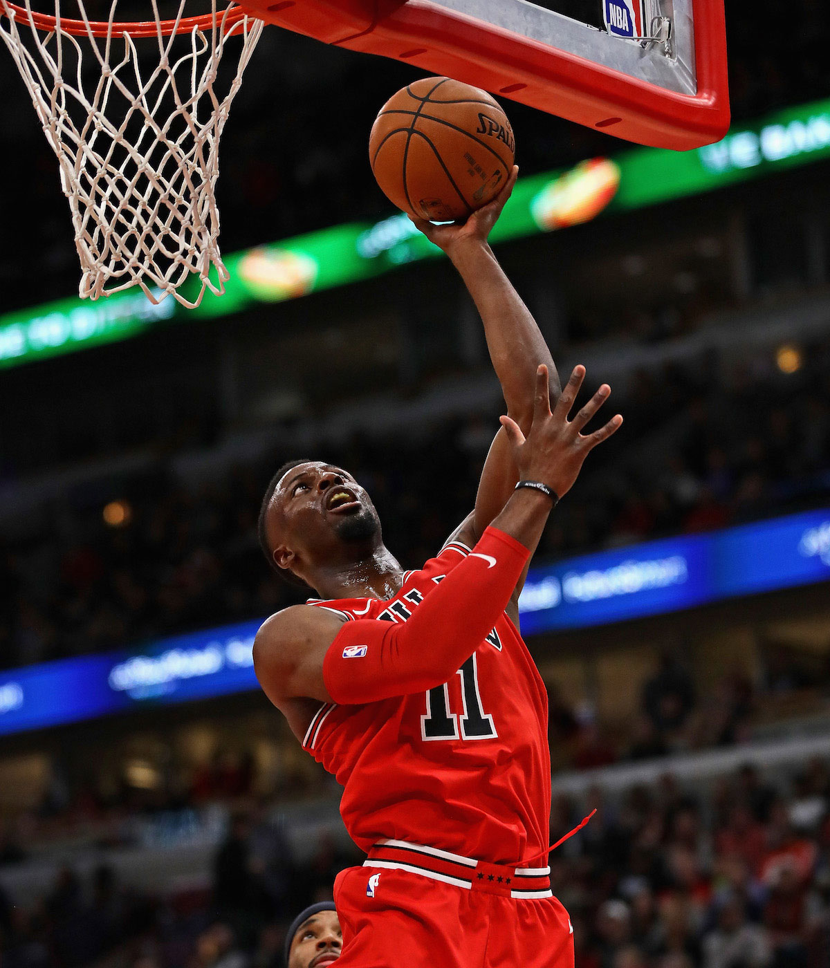 David Nwaba #11 of the Chicago Bulls goes to the basket against the Atlanta Hawks on October 26, 2017 at the United Center in Chicago, Illinois.