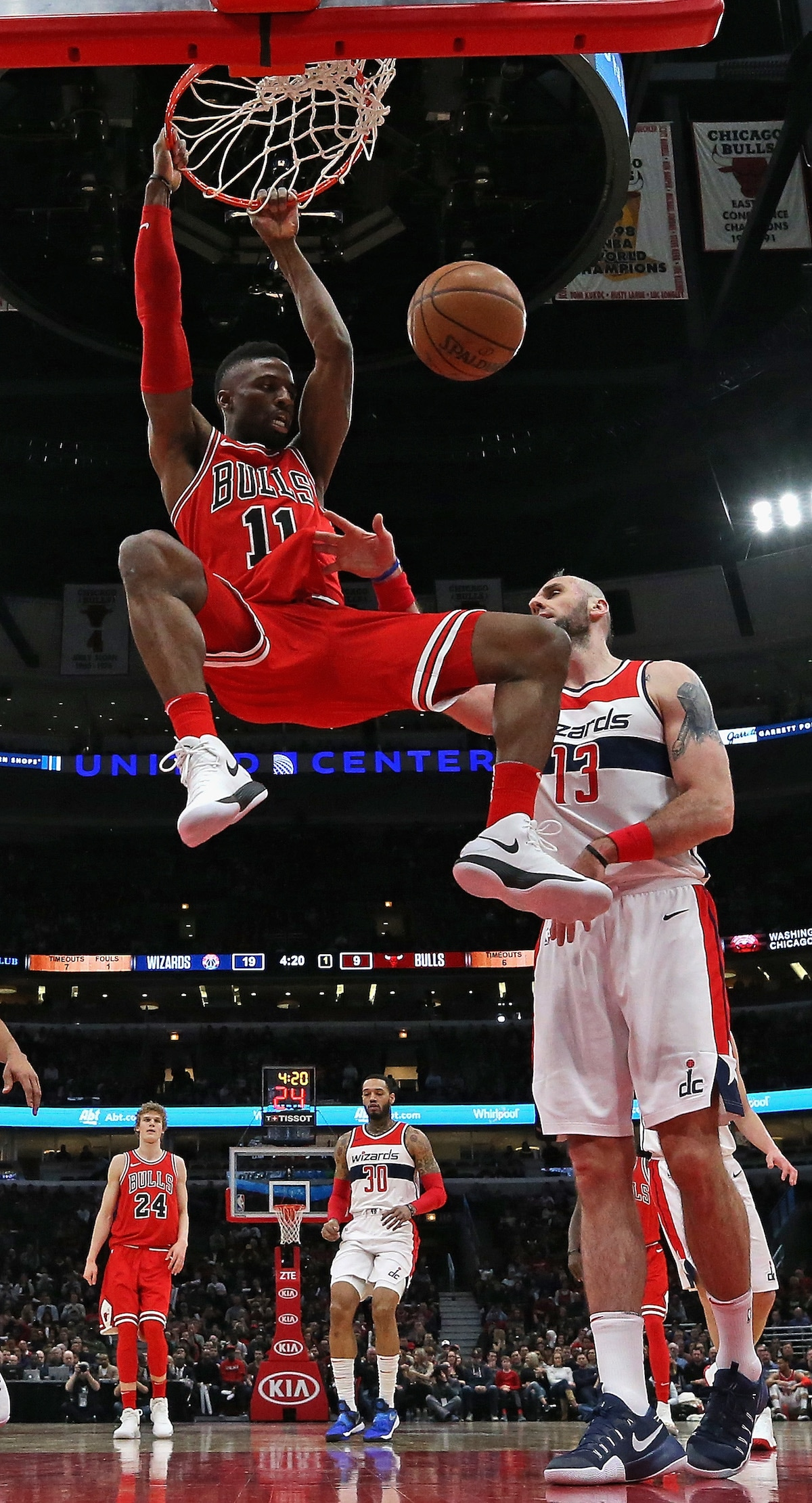 David Nwaba of the Chicago Bulls dunks the ball into the hoop.