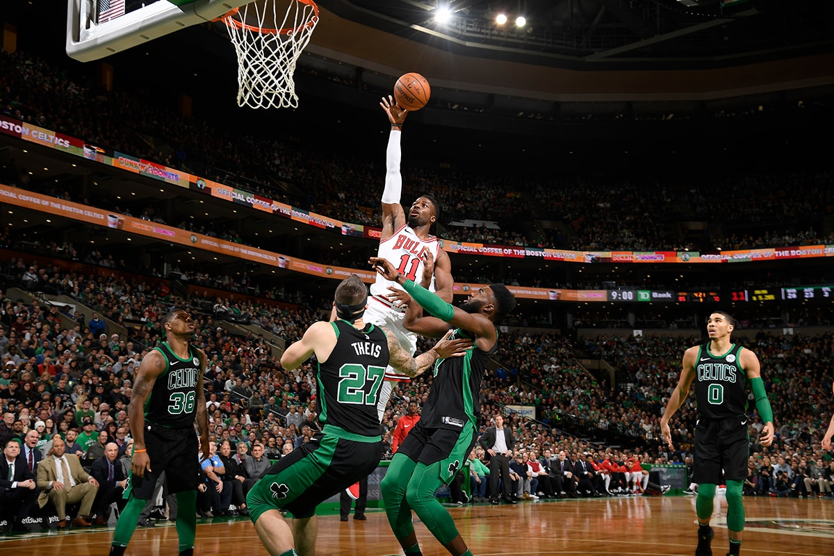 David Nwaba with the floater during the Bulls vs Celtics game on 12.23.17