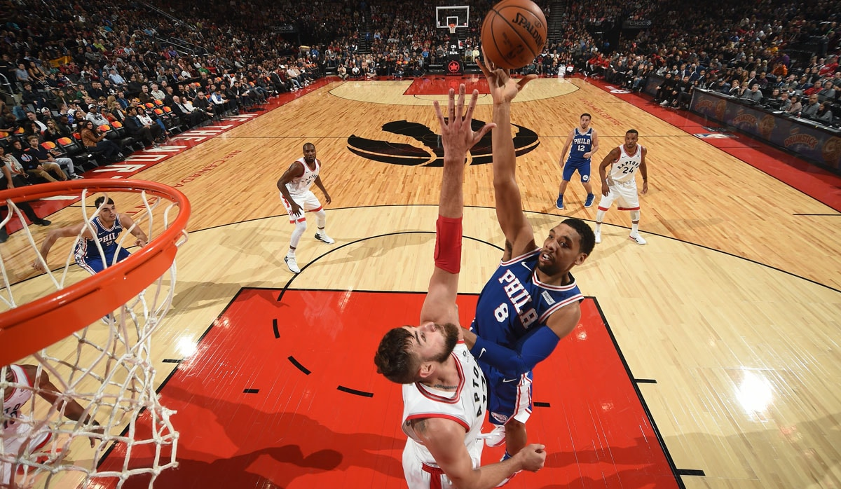 Jahlil Okafor #8 of the Philadelphia 76ers shoots the ball against the Toronto Raptors on October 21, 2017 at the Air Canada Centre in Toronto, Ontario, Canada.