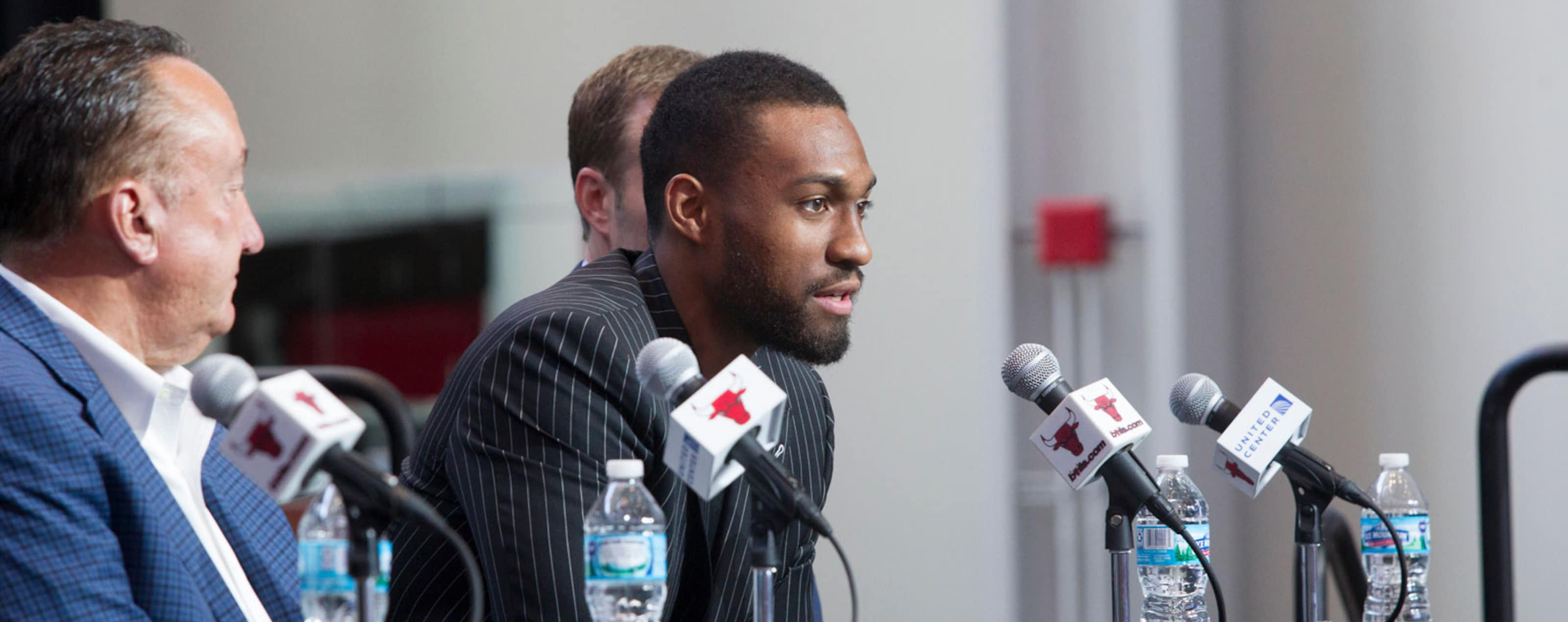 Jabari Parker speaks at a Press Conference at the United center with Gar Forman and Fred Hoiberg