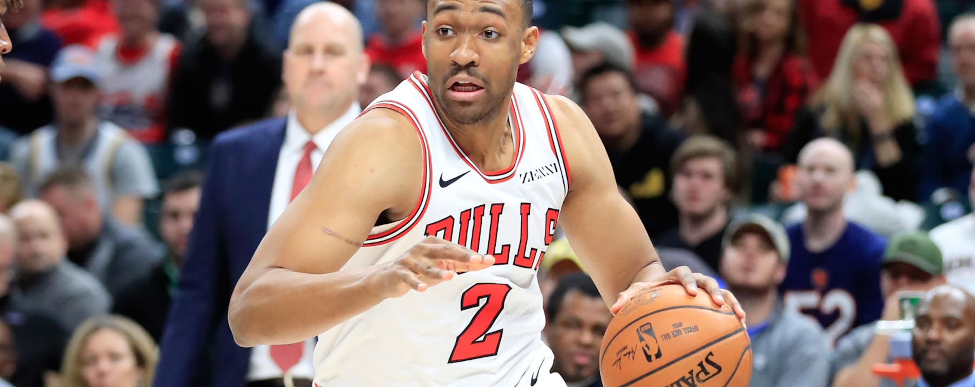 Jabari Parker #2 of the Chicago Bulls dribbles the ball against the Indiana Pacers at Bankers Life Fieldhouse on December 4, 2018 in Indianapolis, Indiana.