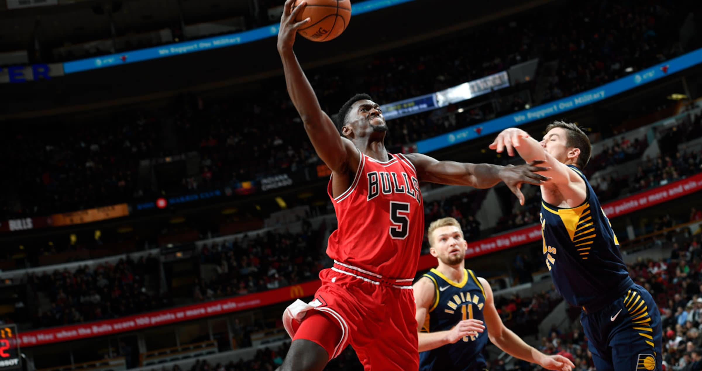 Number 5 Bobby Portis of the Chicago Bulls shooting the ball against the Indiana Pacers , November 10, 2017 at the United Center Chicago, IL