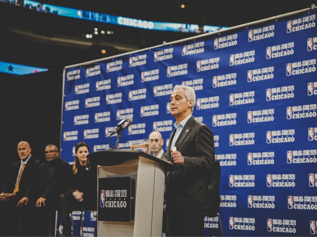 November 10, 2017. Chicago Mayor Rahm Emanuel addressing a press conference about the NBA All Star Game coming to Chicago, at the United Center, Chicago, IL.