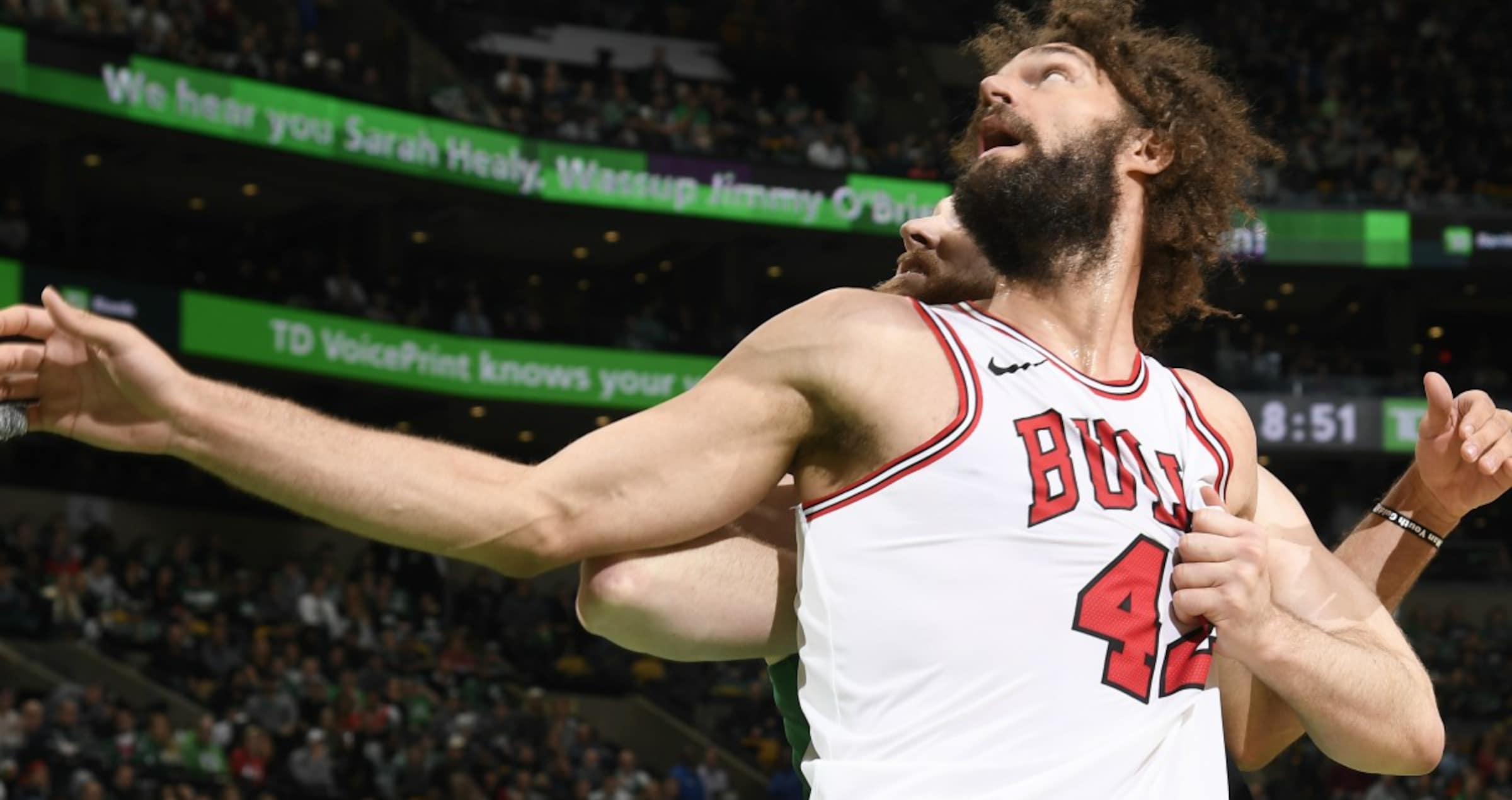 Robin Lopez looking for the ball, as the Bulls fall to Boston.