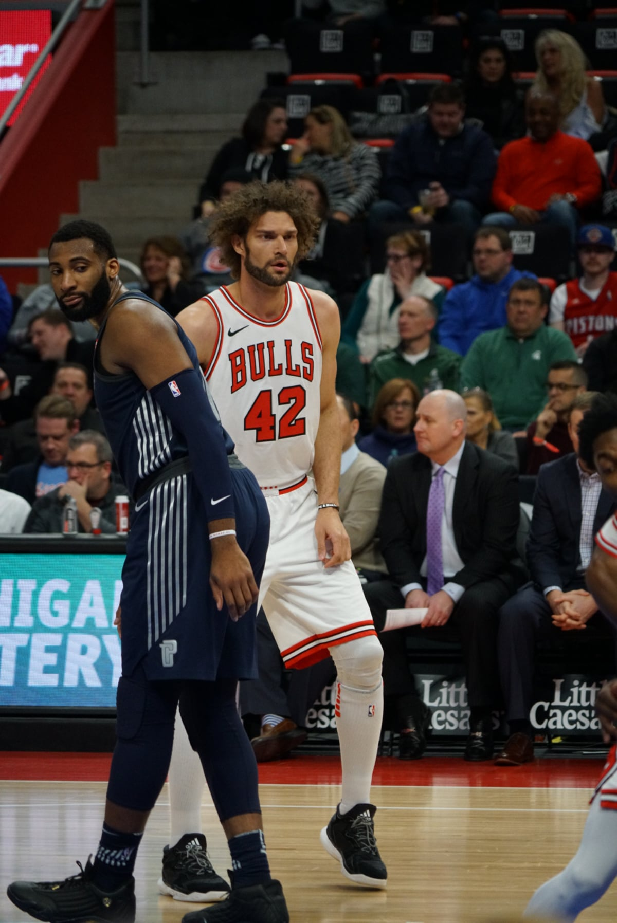 Robin Lopez of the Chicago Bulls vs the Pistons