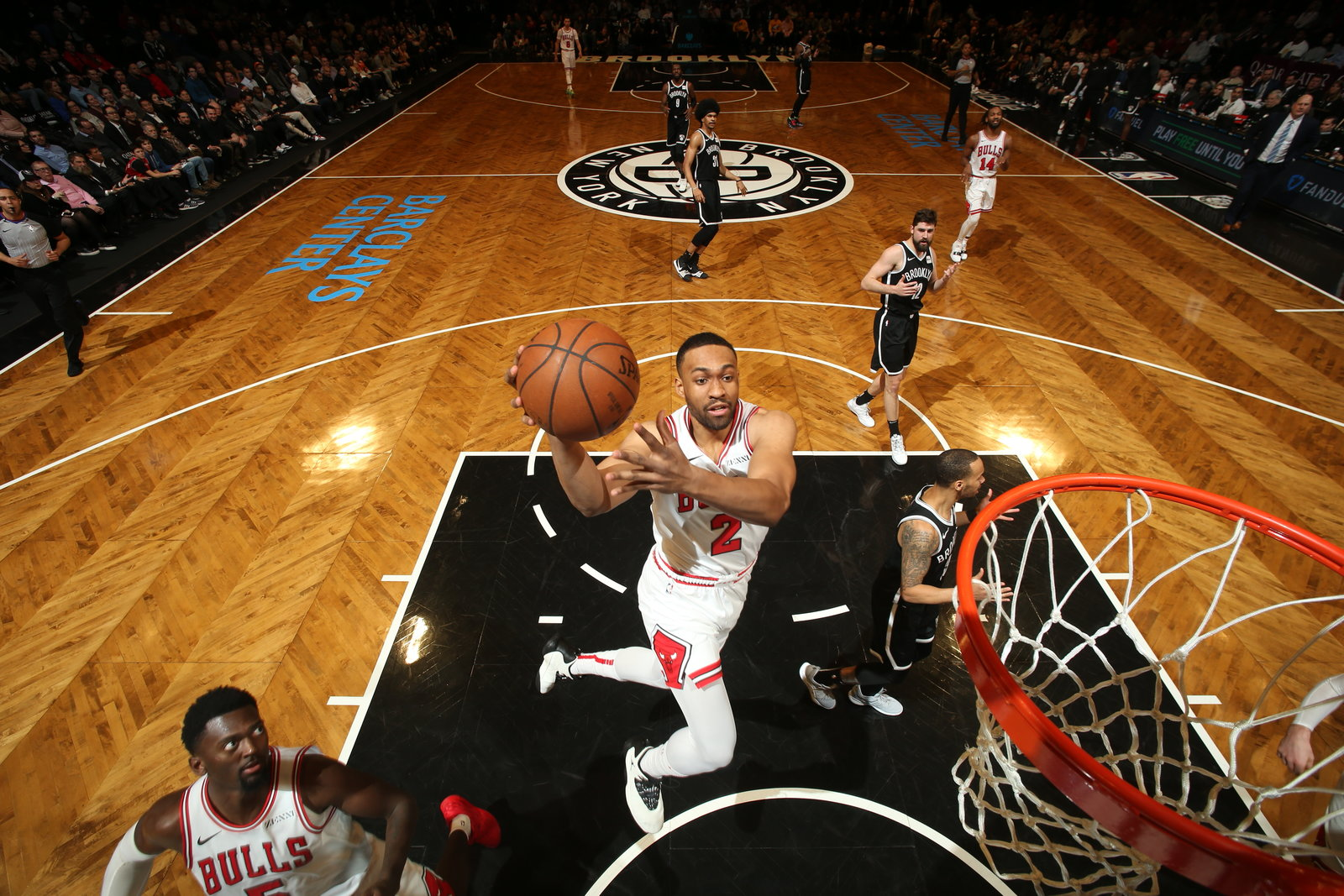 Jabari Parker aerial shot against the Brooklyn Nets.