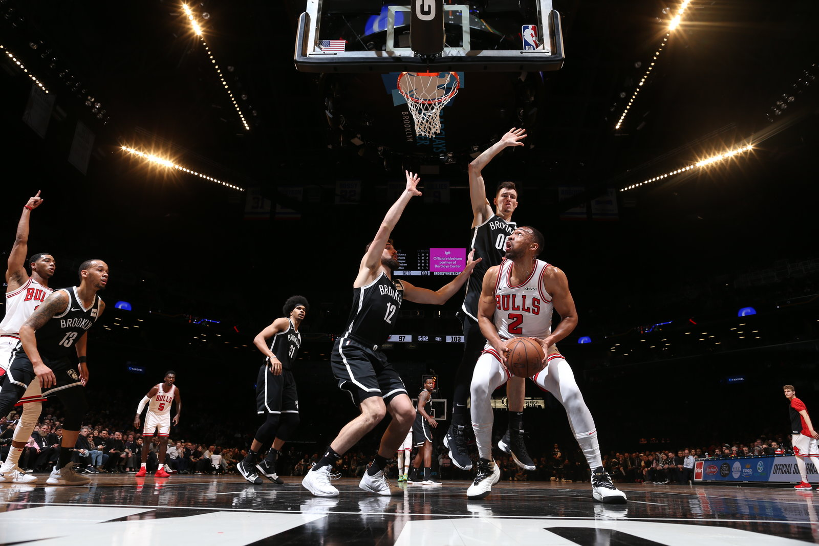Jabari Parker under the basket against the Brooklyn Nets.