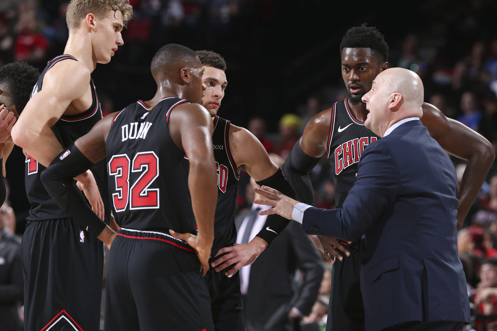 Chicago Bulls huddle during team timeout.