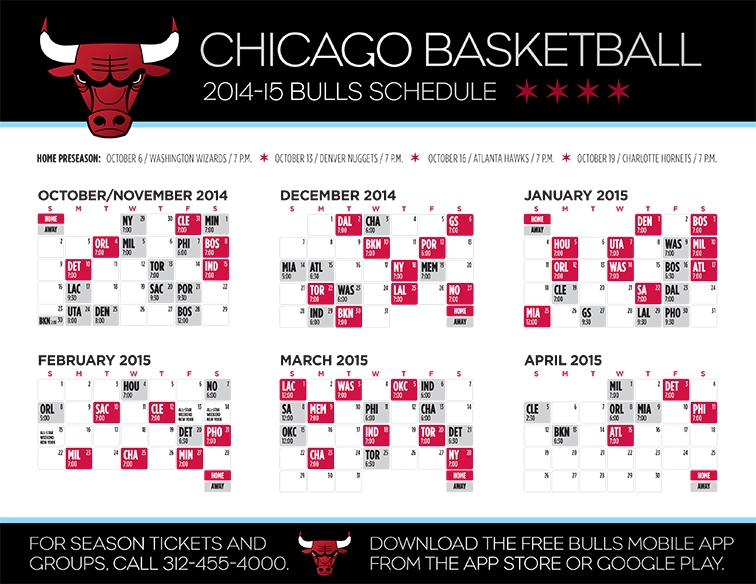 Mesmerizing image for chicago bulls schedule printable