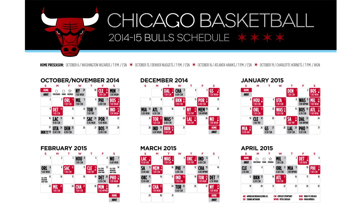 graphic relating to Bulls Schedule Printable identify Bulls announce 2014-15 tv routine Chicago Bulls
